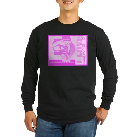 I Love Dolphins Long Sleeve Dark T-Shirt