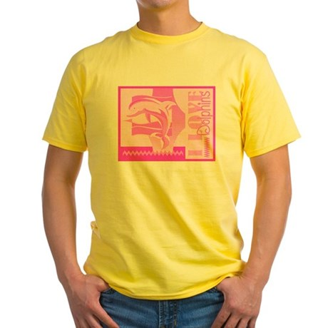 I Love Dolphins Yellow T-Shirt