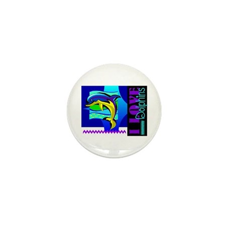 I Love Dolphins Mini Button (100 pack)