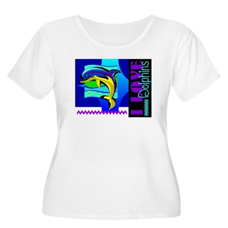 I Love Dolphins Women's Plus Size Scoop Neck T-Shi