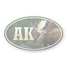 AK Alaska Moose oval car bumper sticker