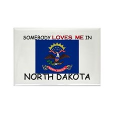 Somebody Loves Me In NORTH DAKOTA Rectangle Magnet