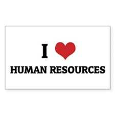 I Love Human Resources Rectangle Decal
