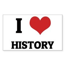 I Love History Rectangle Decal