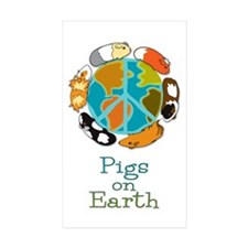 Pigs on Earth Rectangle Sticker 10 pk)