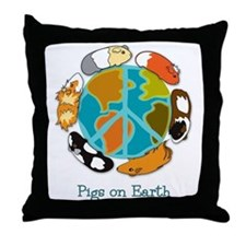 Pigs on Earth Throw Pillow