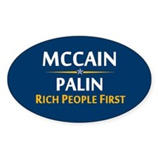 Rich People First Oval Sticker (10 pk)