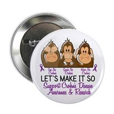 "See Speak Hear No Crohn's Disease 2 2.25"" Button"