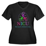 NICU Women's Plus Size V-Neck Dark T-Shirt