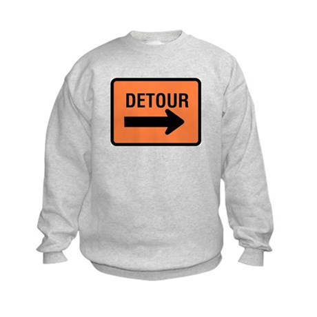 Detour Sign Kids Sweatshirt
