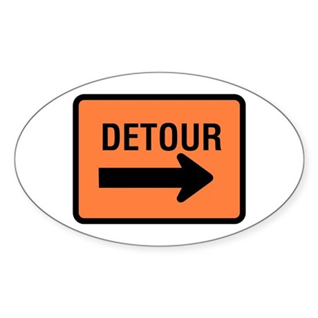 Detour Sign - Oval Sticker