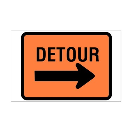 Detour Sign - Mini Poster Print