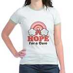 Pink Ribbon Rainbow Hope Jr. Ringer T-Shirt