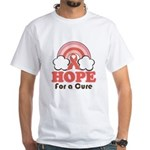 Pink Ribbon Rainbow Hope White T-Shirt