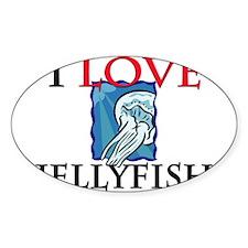 I Love Jellyfish Oval Sticker