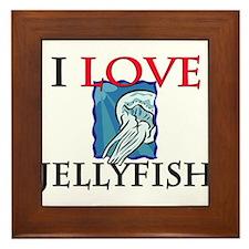 I Love Jellyfish Framed Tile