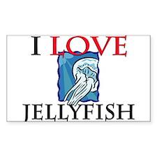I Love Jellyfish Rectangle Sticker