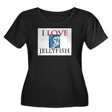 I Love Jellyfish Women's Plus Size Scoop Neck Dark