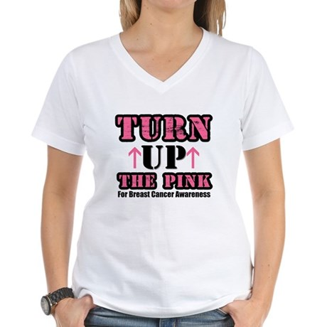 Turn Up The Pink (BC) Women's V-Neck T-Shirt