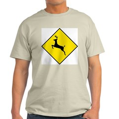 Deer Crossing Sign Ash Grey T-Shirt