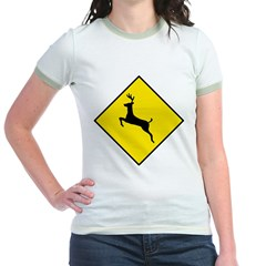 Deer Crossing Sign Jr. Ringer T-Shirt