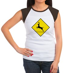 Deer Crossing Sign Women's Cap Sleeve T-Shirt