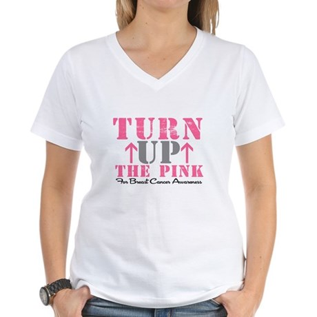 Turn Up The Pink (BC2) Women's V-Neck T-Shirt