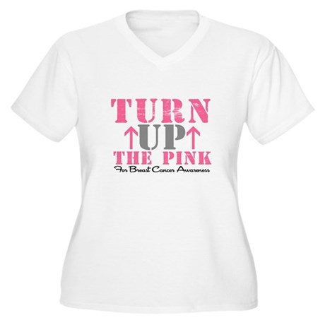 Turn Up The Pink (BC2) Women's Plus Size V-Neck T-