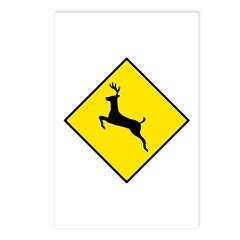 Deer Crossing Sign - Postcards (Package of 8)