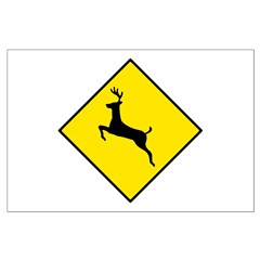 Deer Crossing Sign - Large Poster
