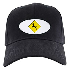Deer Crossing Sign - Black Cap