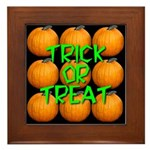 Trick or Treat 9 Great Pumpkins Framed Tile