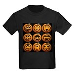 9 Cute Jack-o-lanterns Kids Dark T-Shirt