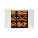9 Cute Jack-o-lanterns Rectangle Magnet (10 pack)