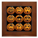 9 Cute Jack-o-lanterns Framed Tile