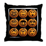 9 Cute Jack-o-lanterns Throw Pillow