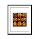 9 Cute Jack-o-lanterns Framed Panel Print