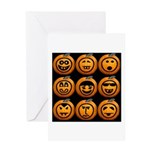 9 Cute Jack-o-lanterns Greeting Card