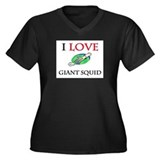 I Love Giant Squid Women's Plus Size V-Neck Dark T