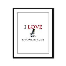 I Love Emperor Penguins Framed Panel Print