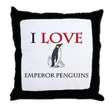 I Love Emperor Penguins Throw Pillow