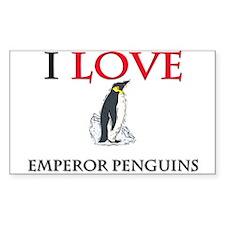 I Love Emperor Penguins Rectangle Sticker