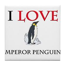I Love Emperor Penguins Tile Coaster