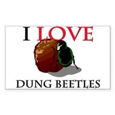 I Love Dung Beetles Rectangle Stickers