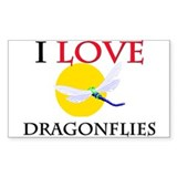 I Love Dragonflies Rectangle Decal