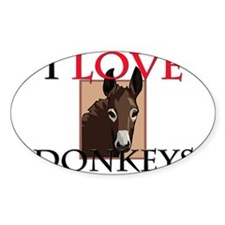 I Love Donkeys Oval Decal