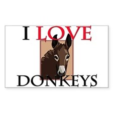 I Love Donkeys Rectangle Decal