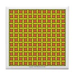 Yellow Latticework Tile Coaster