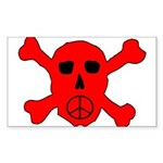 Peace Skull Rectangle Sticker 10 pk)