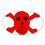 Peace Skull Oval Sticker (10 pk)